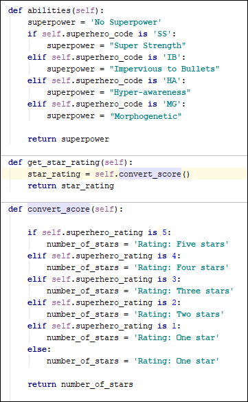 Adding a ratings function to our Python class