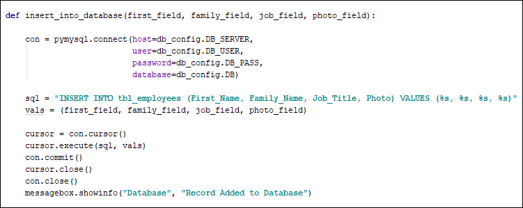 SQL code to insert a record into a database using Python