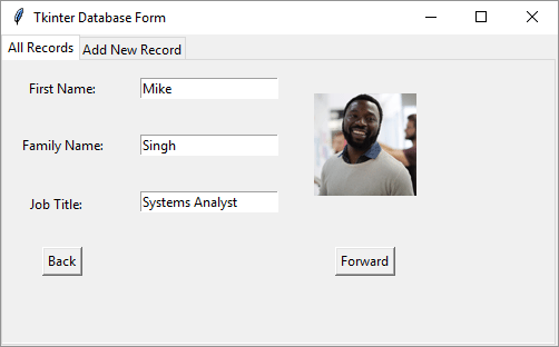 Tkinter database form