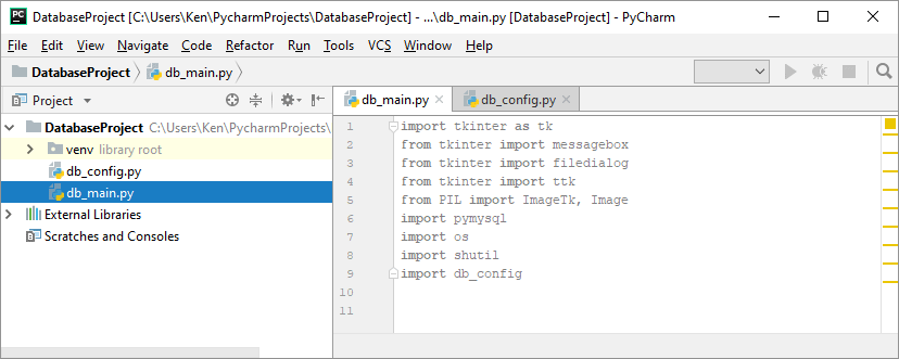 PyCharm showing the imported Python libraries