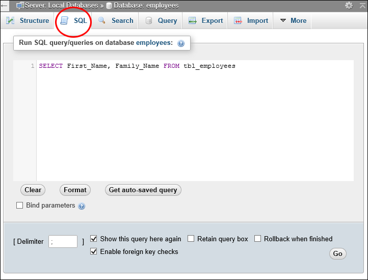 phpMyAdmin shlowing the SQL tab