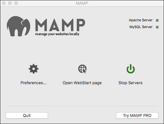 MAMP server installed on a Mac