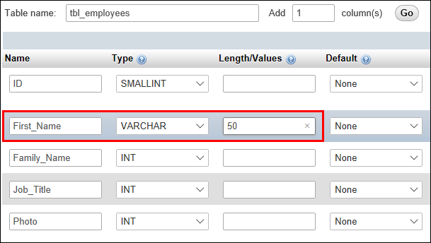 Setting a database column to VARCHAR with a length of 50 characters
