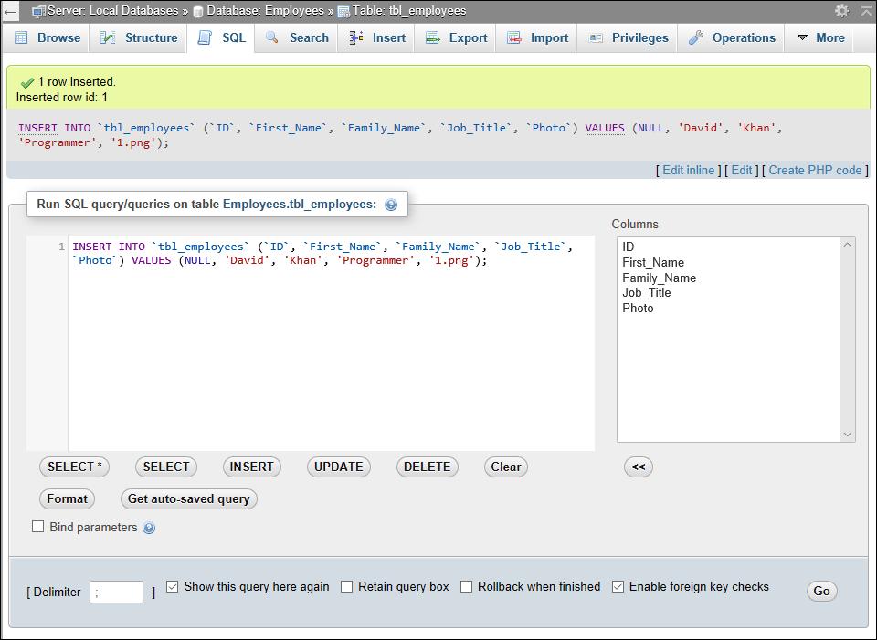 The SQL tab of phpMyAdmin