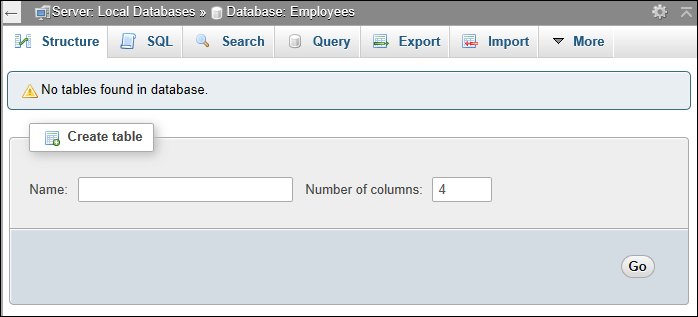 Create a table section of phpMyAdmin