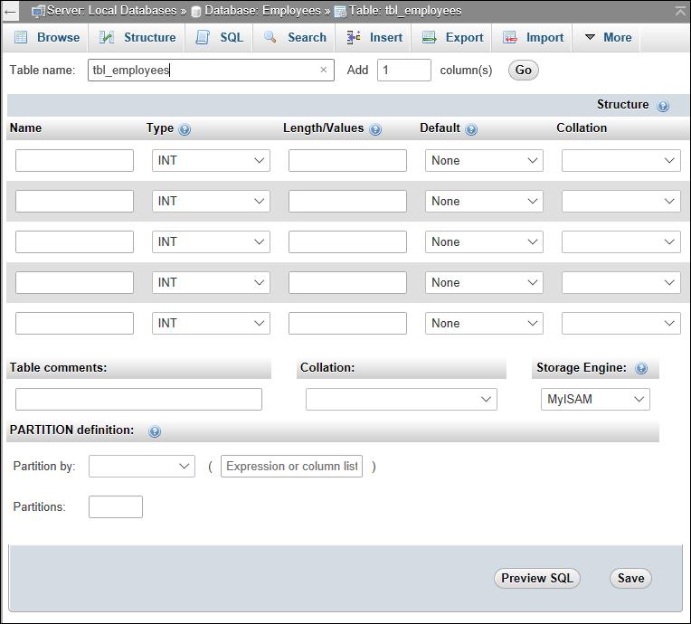 phpMyAdmin screen, new table