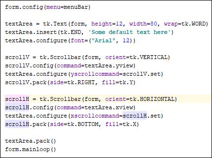 Python code for a horizontal scrollbar