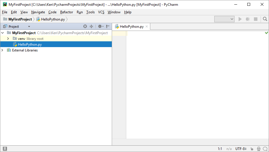 A New Python file showing in the project explorer on the left of PyCharm