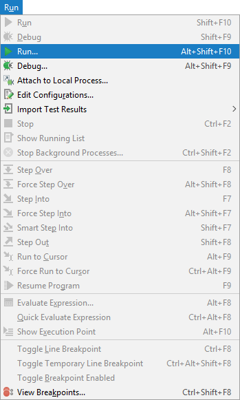 The Run menu  in PyCharm
