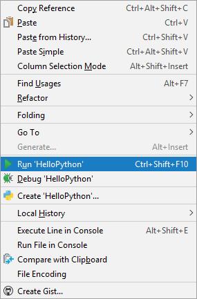 The right-click run menu