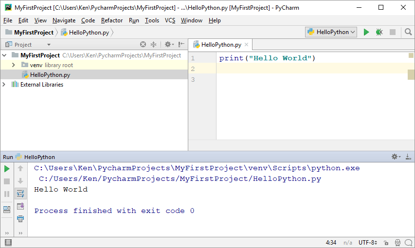 The output window showing the results of a Python script