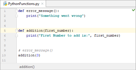 Calling a Python function with a parameter