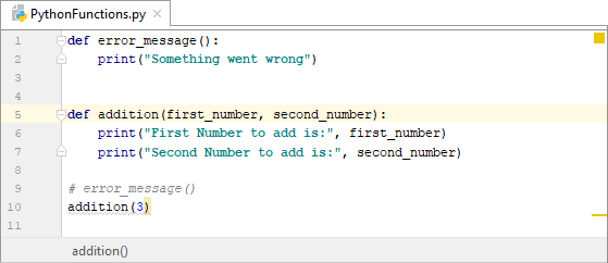 Calling a function with two parameters