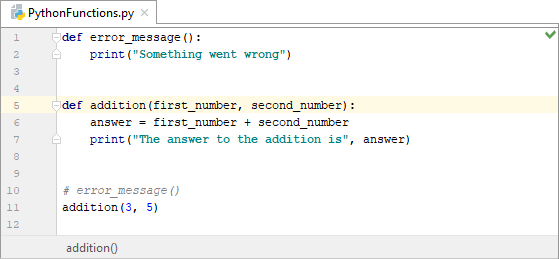 A Python function with two parameters