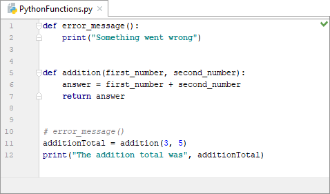 Calling a Python function that returns a value