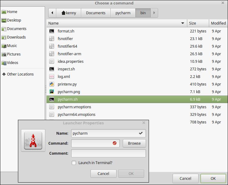 Launcher Properties dialog box in Linux