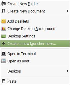Create a new launcher menu in Linux Mint