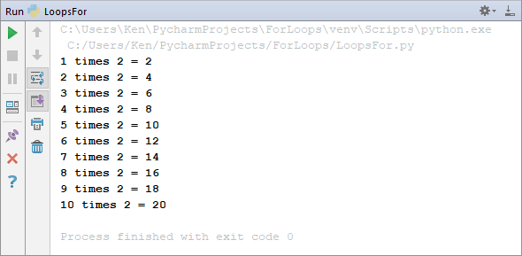 The output of a Python times table program