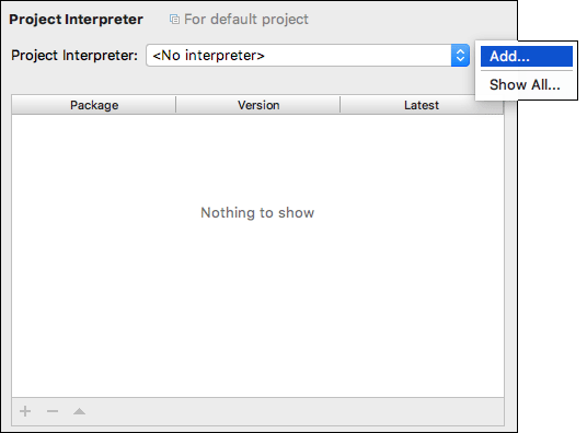 Mac screenshot of the Project Interpreter