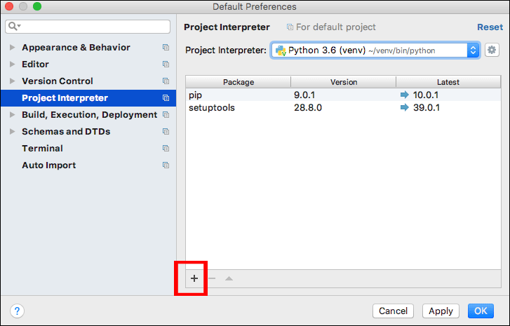 The Add Package button on PyCharm for the Mac