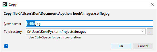 Copying an image in PyCharm