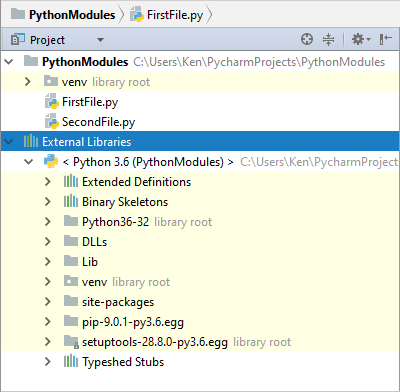 The PyCharm external libraries section expanded