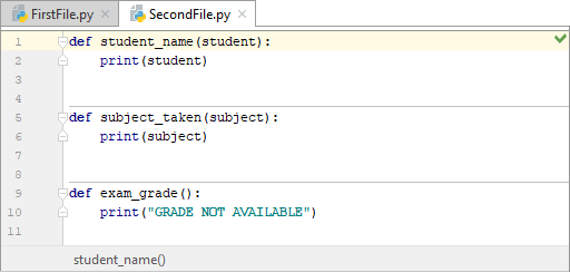 A second Python file showing three functions set up