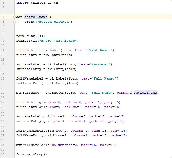 Setting a command parameter for a Tkinter Button widget