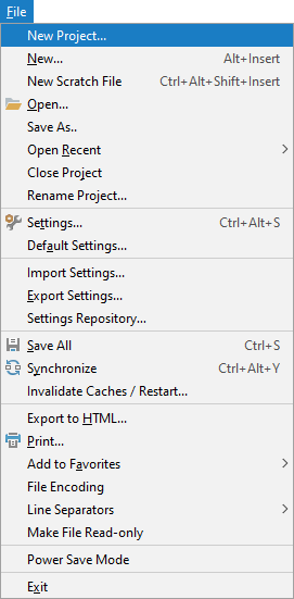 The new project menu in PyCharm
