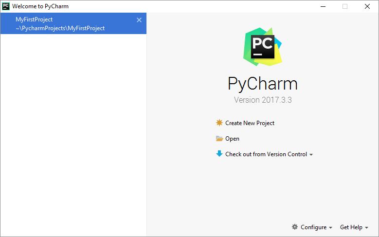 Opening PyCharm screen