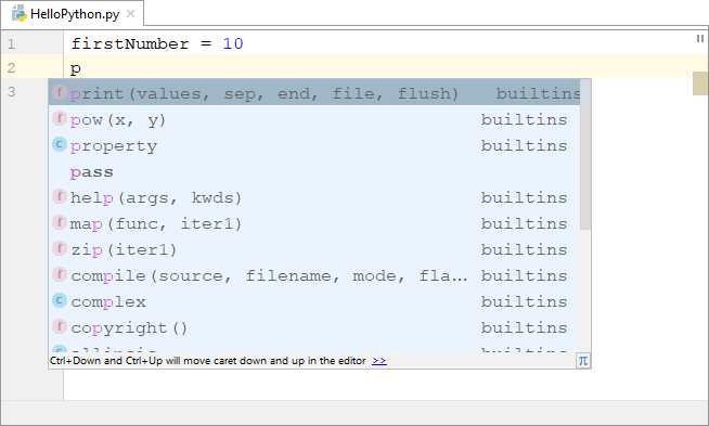 Code completetion in PyCharm